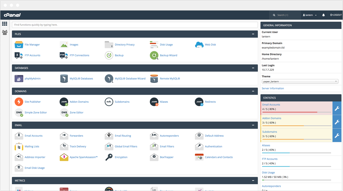 cPanel & WHM Dashboard